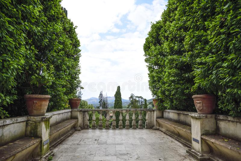Villa D `Este, Tivoli, Italy. Balcony of the garden stock photo