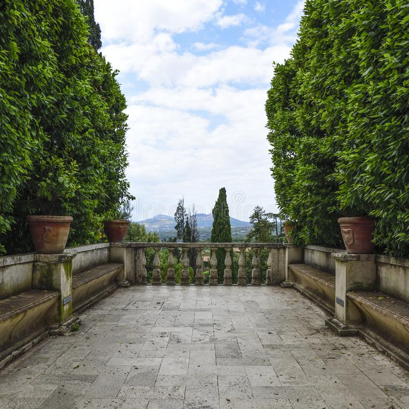 Villa D `Este, Tivoli, Italy. Balcony of the garden stock photography