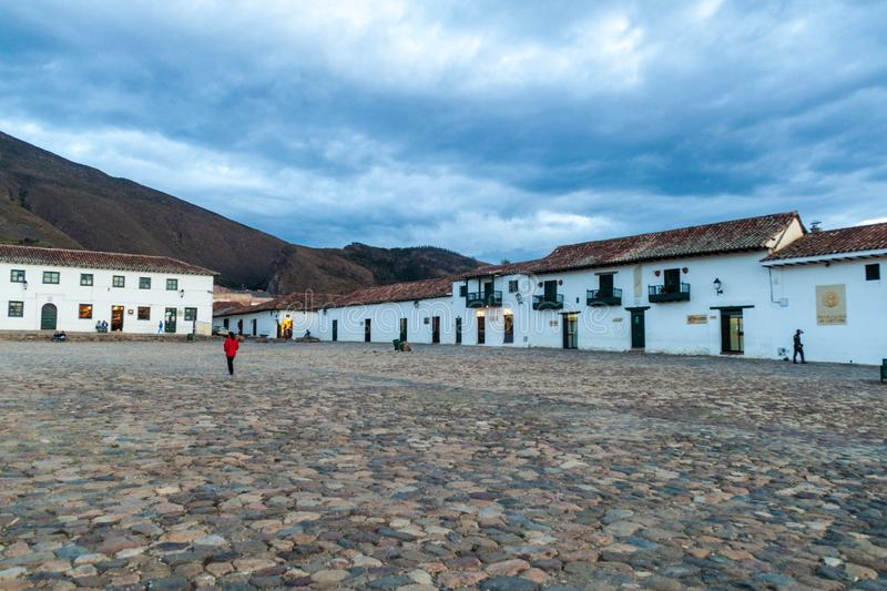 Plaza Mayor square in colonial town Villa de Leyva stock images
