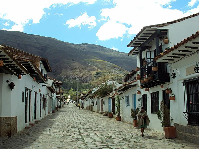 Villa de Leyva; Colombia/13th June 2011/A street scene in the old rural colonial town of Villa de Leyva; Colombia royalty free stock photo
