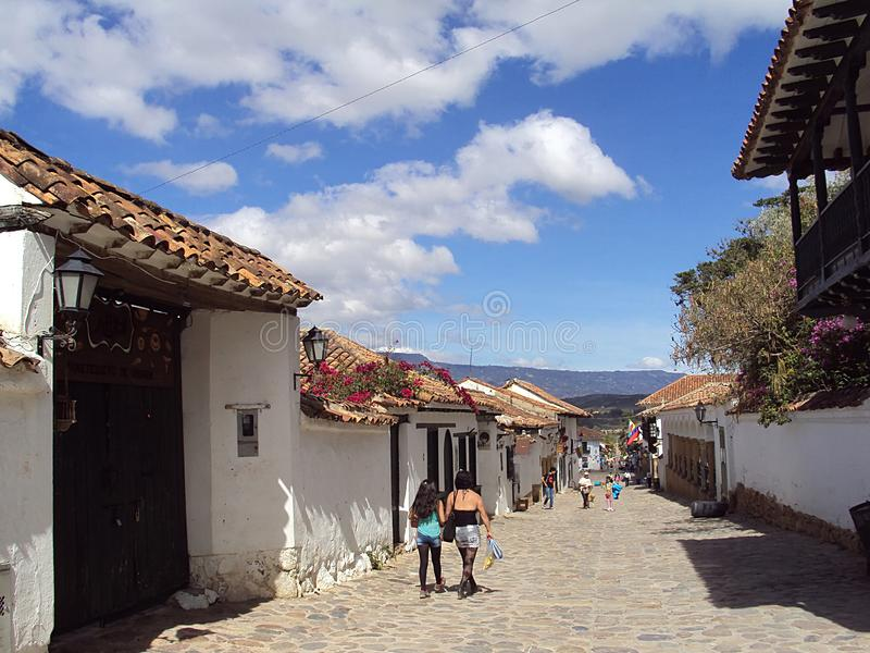 Villa de Leyva; Colombia/13th June 2011/A street scene in the old rural colonial town of Villa de Leyva; Colombia stock photos