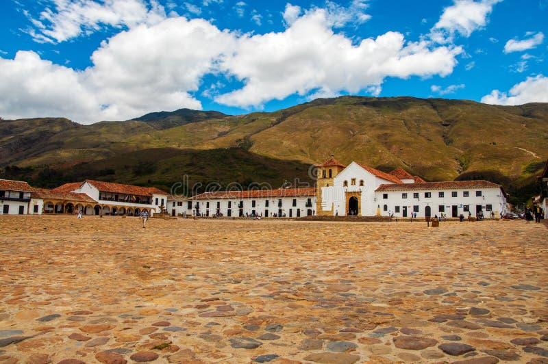 Villa de Leyva Townfyrkant arkivfoto