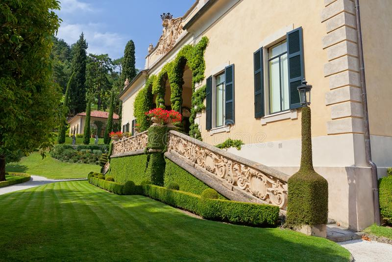 Villa del Balbianello på sjön Como, Lenno, Lombardia, Italien royaltyfri foto