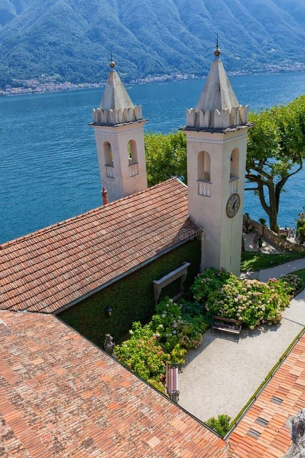 Villa del Balbianello på sjön Como, Lenno, Lombardia, Italien arkivfoton