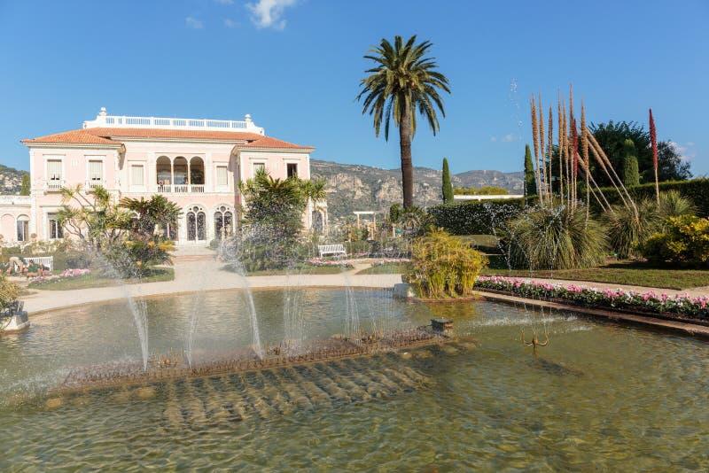 Villa Ephrussi de Rothschild. CAP FERRAT, FRANCE - OCTOBER 29, 2014: Villa Ephrussi de Rothschild stock photo