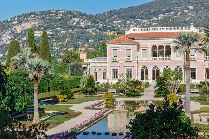 Villa Ephrussi de Rothschild. CAP FERRAT, FRANCE - OCTOBER 29, 2014: Villa Ephrussi de Rothschild royalty free stock images