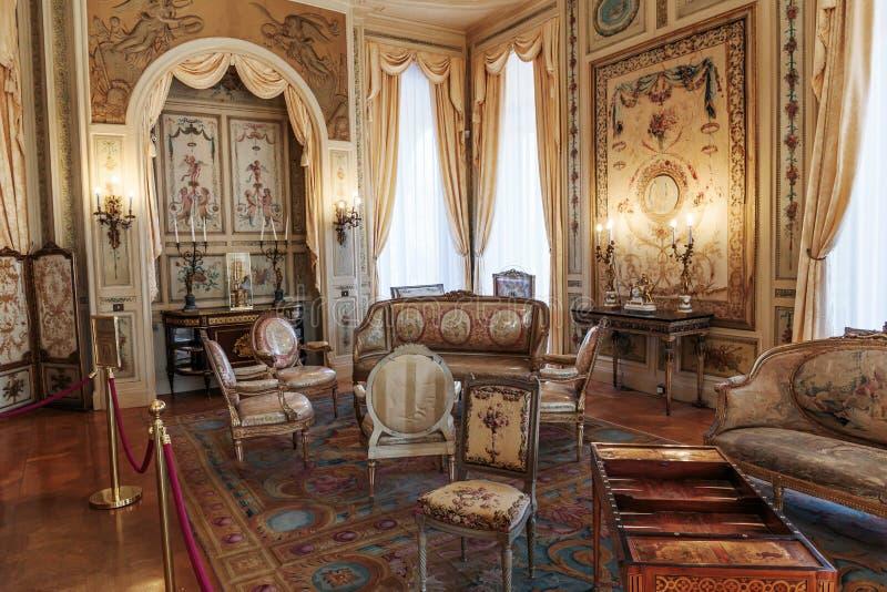 Villa Ephrussi de Rothschild inre royaltyfri fotografi