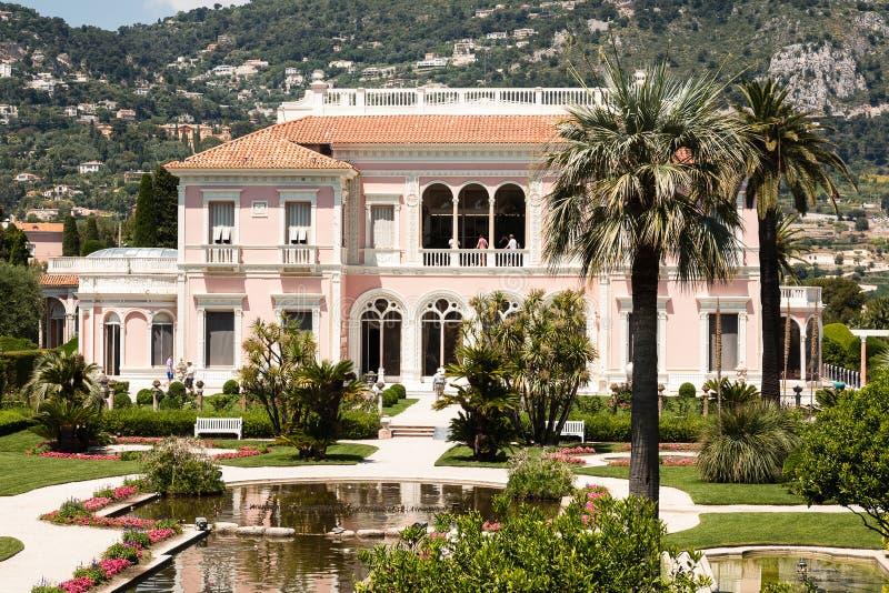 Villa Ephrussi de Rothschild på locket Ferrat arkivfoto