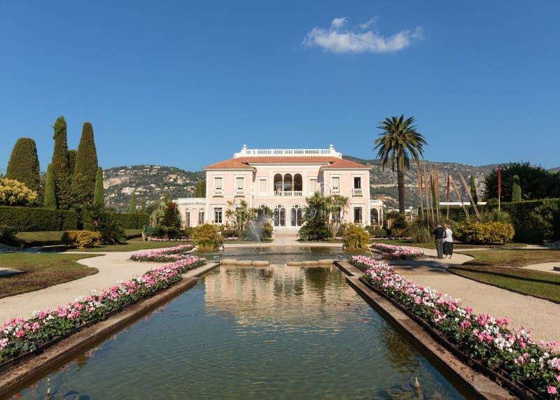 Villa Ephrussi de Rothschild. SAINT-JEAN-CAP FERRAT, FRANCE - OCTOBER 29, 2014: Villa Ephrussi de Rothschild royalty free stock image