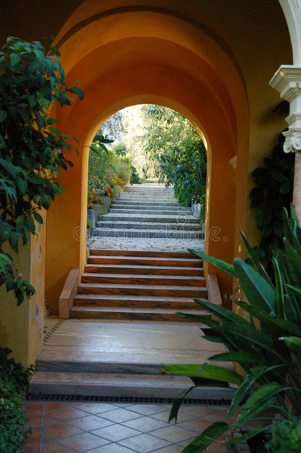 Villa Ephrussi de Rotschild Spanish garden royalty free stock image