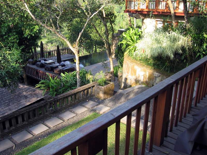 villa för bali djungelpoolview arkivbilder