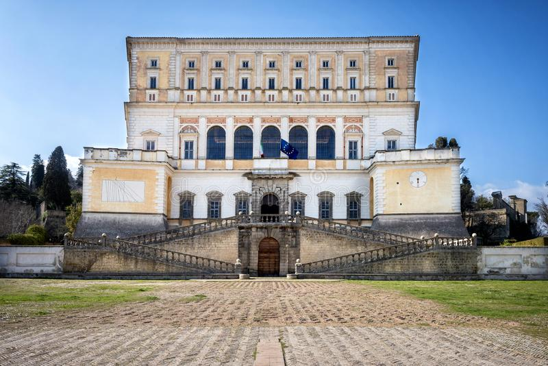 The Villa Farnese in italian Palazzo Farnese, a mansion in the town of Caprarola near Viterbo, Northern Lazio, Italy. Palazzo Farnese, one of the most beautiful royalty free stock photo