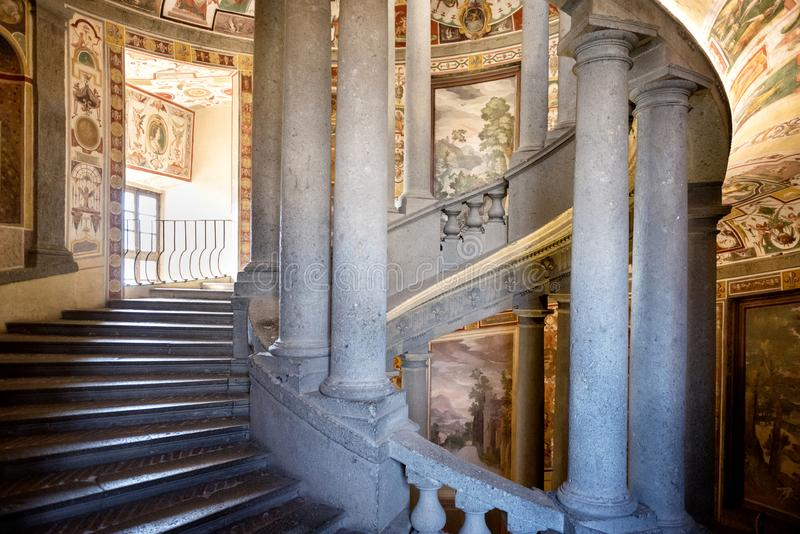 The Villa Farnese in italian Palazzo Farnese, a mansion in the town of Caprarola near Viterbo, Northern Lazio, Italy. Palazzo Farnese, one of the most beautiful royalty free stock images