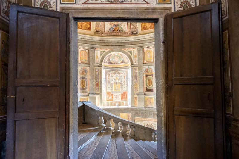 The Villa Farnese in italian Palazzo Farnese, a mansion in the town of Caprarola near Viterbo, Northern Lazio, Italy. Palazzo Farnese, one of the most beautiful royalty free stock image