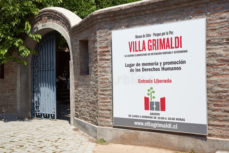 Villa Grimaldi. Entrance to Villa Grimaldi in Santiago, Chile. Memorial park to the people who were detained and tortured during the 1970's in the prison camp stock image
