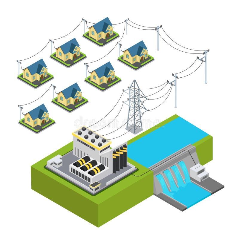 Villa hydraulique de vert de station d'énergie d'usine d'énergie hydraulique illustration de vecteur