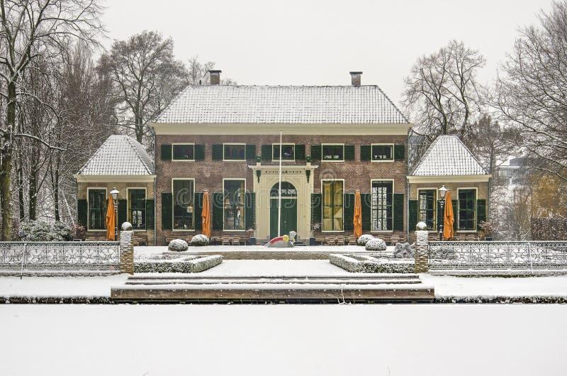 Villa im Park im Winter stockfotografie