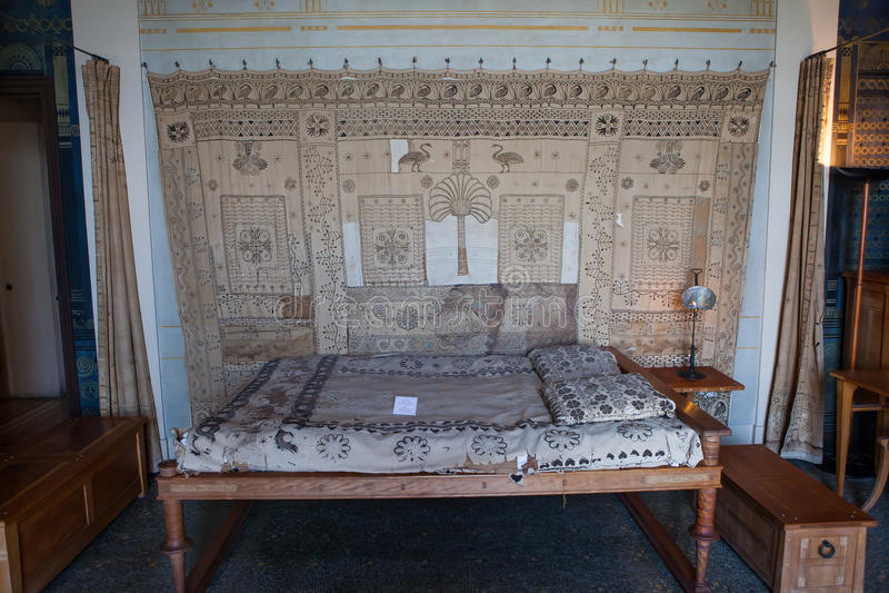 Villa Kerylos, Beaulieu sur mer, Frankrijk, binnenland en details royalty-vrije stock foto
