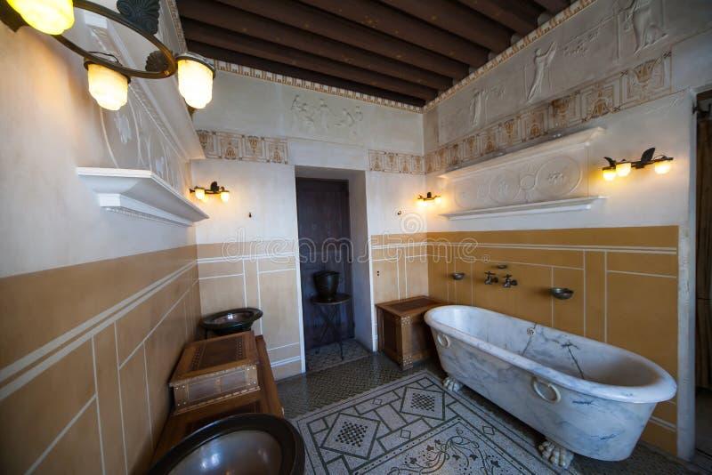 Villa Kerylos, Beaulieu sur mer, Frankrijk, binnenland en details royalty-vrije stock afbeelding