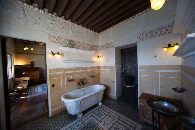 Villa Kerylos, Beaulieu sur mer, Frankrijk, binnenland en details stock afbeeldingen