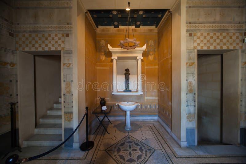 Villa Kerylos, Beaulieu sur mer, Frankrijk, binnenland en details royalty-vrije stock afbeeldingen
