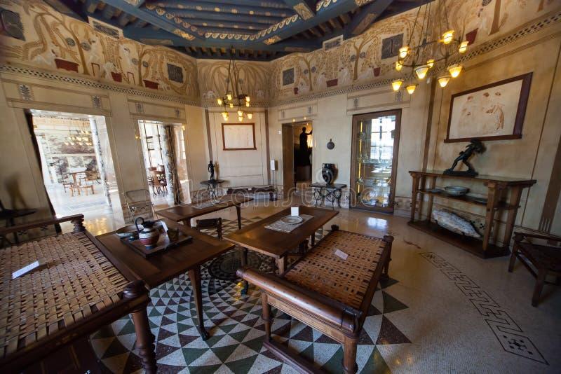 Villa Kerylos, Beaulieu sur mer, Frankrijk, binnenland en details stock foto