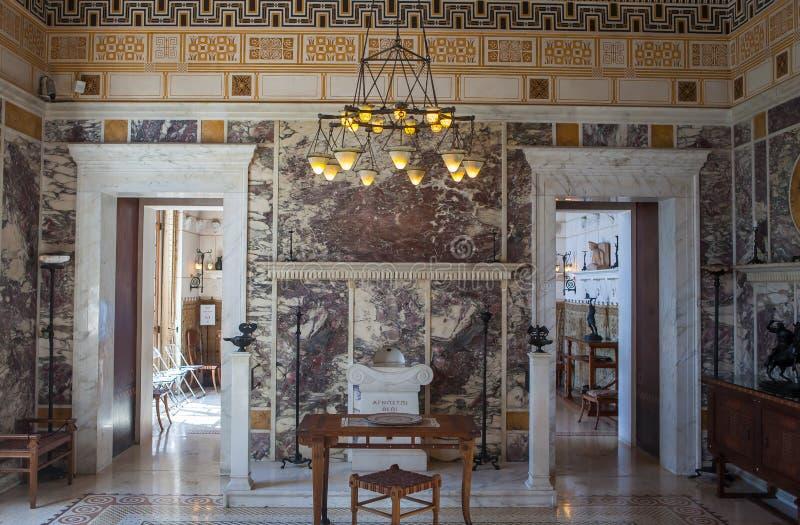 Villa Kerylos, Beaulieu surmer, Frankrike, inre och detaljer arkivbild
