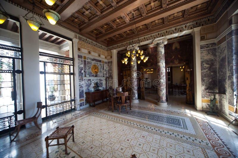 Villa Kerylos, Beaulieu surmer, Frankrike, inre och detaljer royaltyfri fotografi