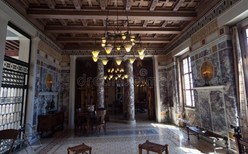 Villa Kerylos, Beaulieu surmer, Frankrike, inre och detaljer arkivfoto