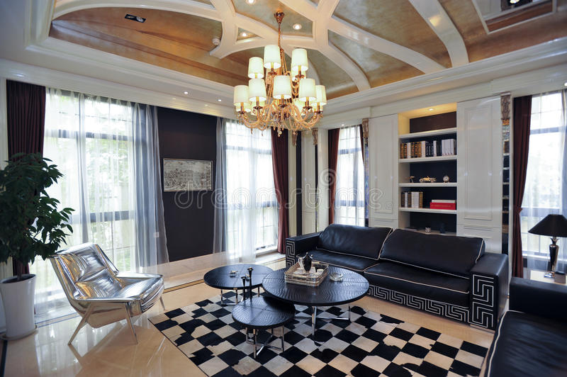 Villa living room royalty free stock images