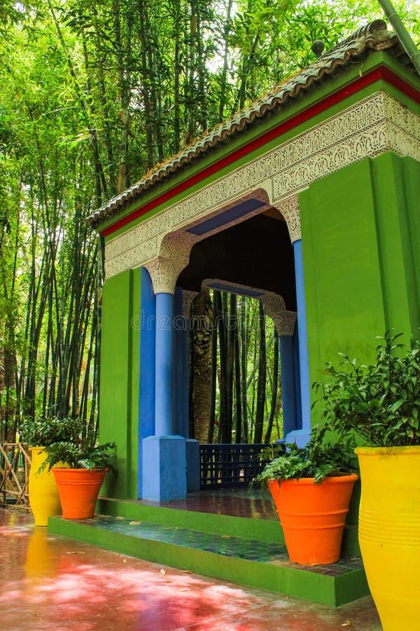 Villa Majorelle in Marrakech, Marokko Tuinterras royalty-vrije stock afbeelding