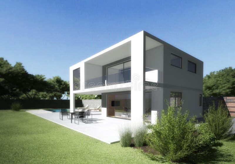 Villa moderne avec la terrasse et le jardin. images libres de droits