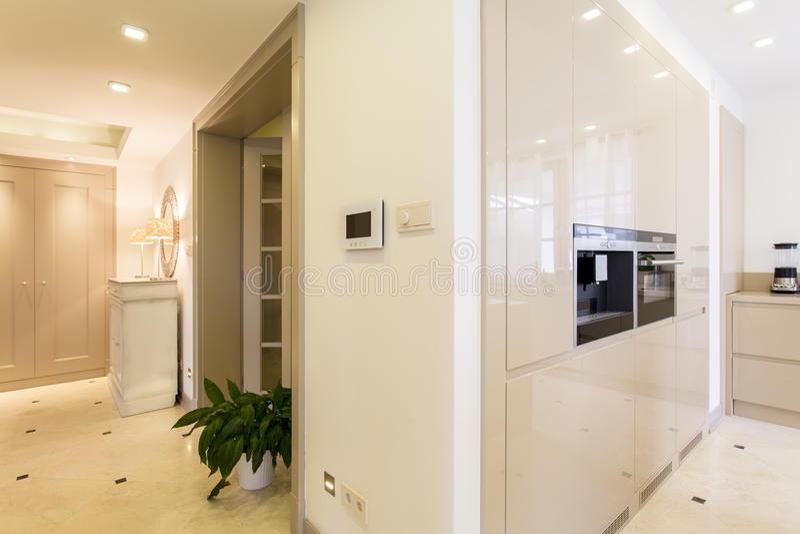 Villa moderne de fantaisie avec le système futé de maison photo stock