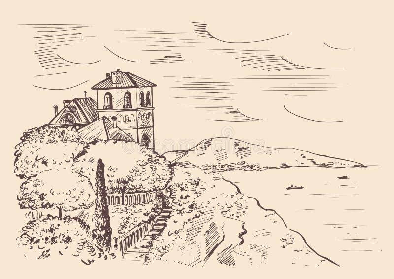 Villa on the mountain in the Mediterranean Sea. Hand drawn vector ink sketch. Villa on the mountain in the Mediterranean Sea. Hand drawn vector ink sketch vector illustration