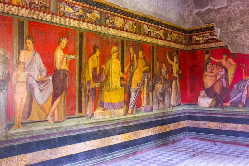 Villa of Mysteries, Interior with antique fresco, Pompei, Italy.  royalty free stock photography