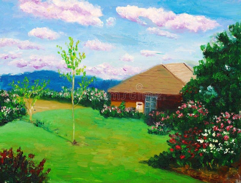 Villa op een heuvel stock illustratie