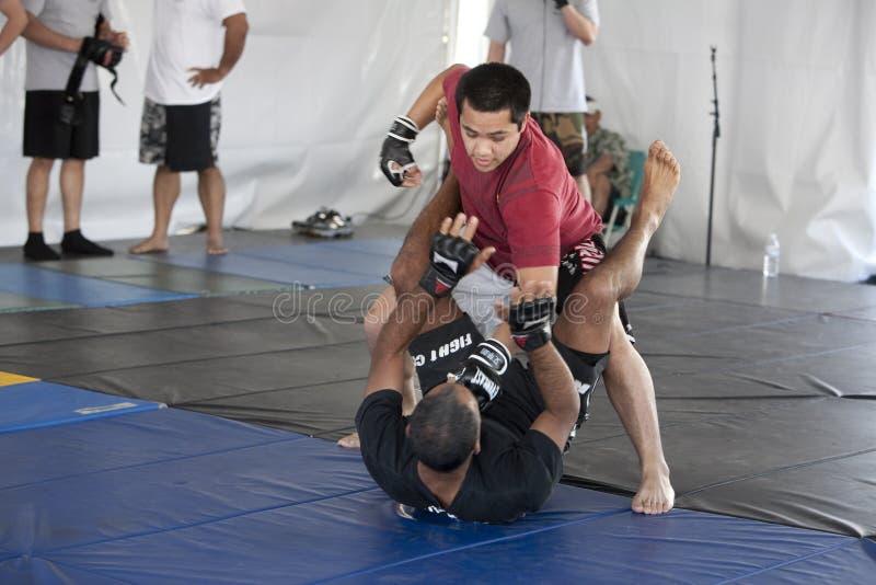Villa Park Jiu-Jitsu. LOS ANGELES - APRIL 5: Villa Park Jiu-Jitsu demonstrate Mixed Martial Arts (MMA) at the Little Tokyo Cherry Blossom Festival on April 5th stock photos