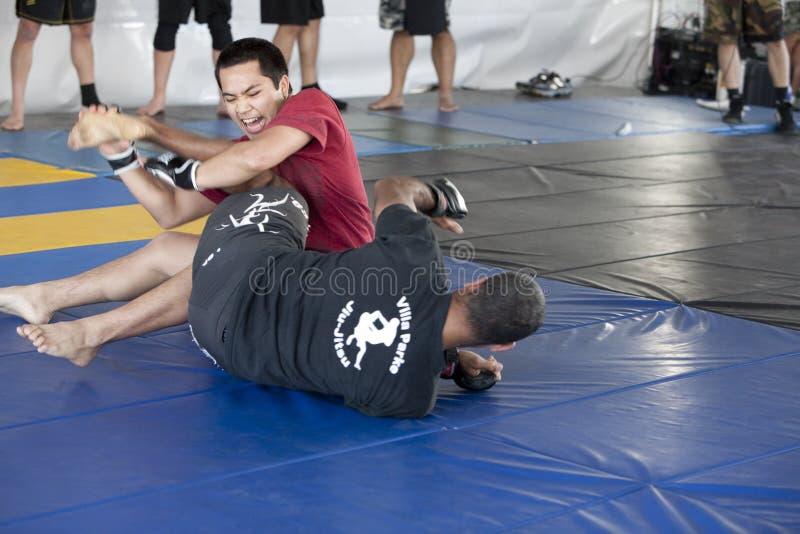 Villa Park Jiu-Jitsu. LOS ANGELES - APRIL 5: Villa Park Jiu-Jitsu demonstrate Mixed Martial Arts (MMA) at the Little Tokyo Cherry Blossom Festival on April 5th stock photography