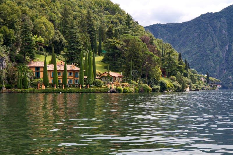 Villa and park on lake Como, Italy royalty free stock image