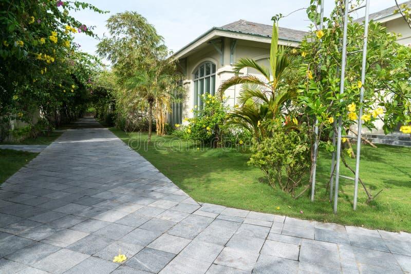 Villa path way at the tropical resort.  royalty free stock photos