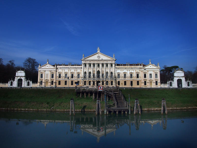 Villa Pisani in Stra Italy and the Brenta River. stock images