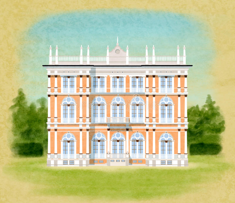 Villa Ponti. Illustration of Villa Ponti in italy