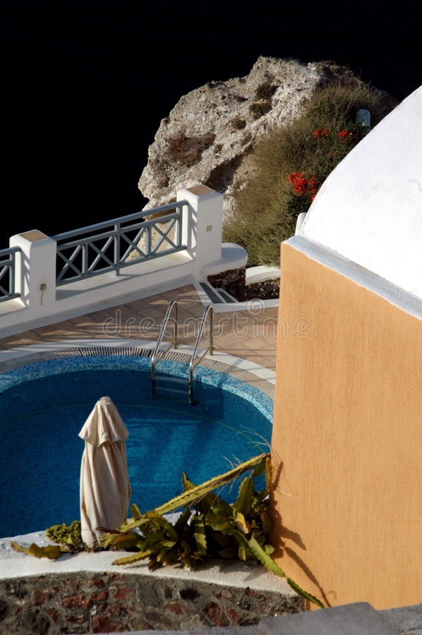 Villa with pool over sea stock images