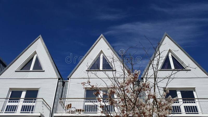 Local House. Villa And Residence Local Style With Warm Sunny During Springtime In Europe royalty free stock photos