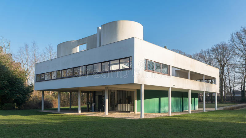 Villa Savoye at Poissy. Villa designed by the architect Le Corbusier royalty free stock photography