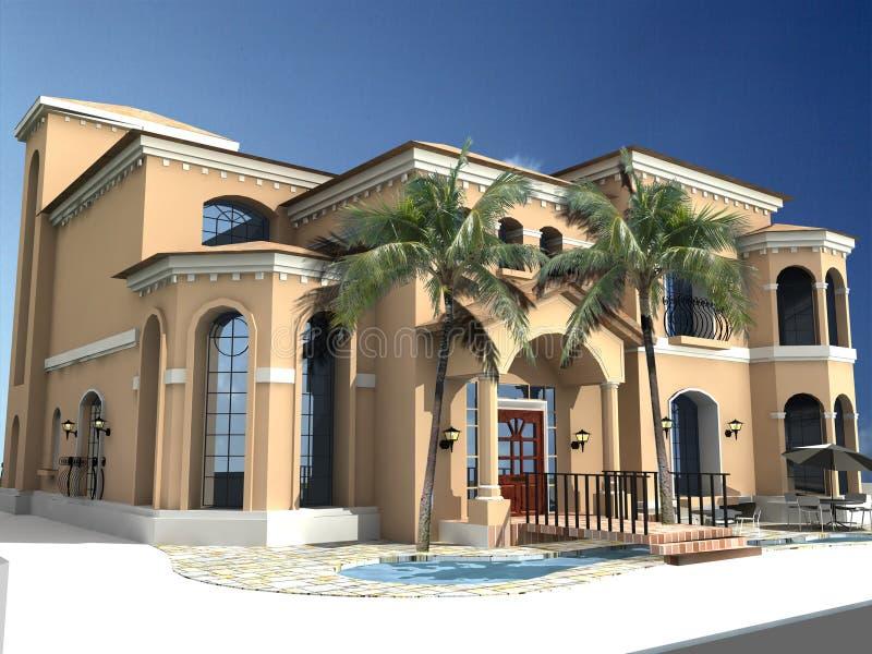 villa spagnola di stile illustrazione di stock
