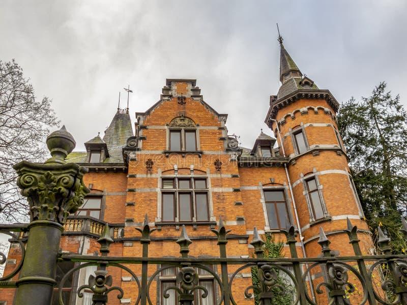 Villa Steisel in Malmedy, Belgium built in 1897, architectural detail. Villa Steisel or Villa des Lilas in Malmedy, Belgium built in 1897, exterior partial view stock photos