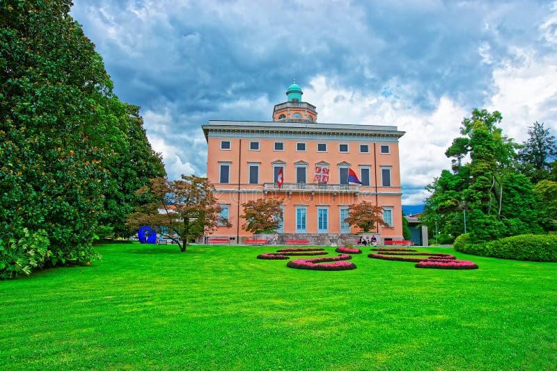 Villa sul giardino botanico di Ciani a Lugano il Ticino Svizzera immagini stock libere da diritti