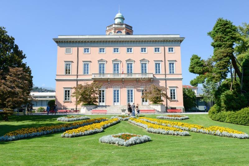 Villa sul parco botanico di Ciani nel centro di Lugano immagini stock libere da diritti