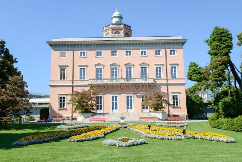 Villa sul parco botanico di Ciani nel centro di Lugano fotografia stock